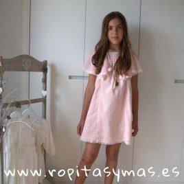 Vestido gasa plumeti rosa MON PETIT BONBON, verano 2019