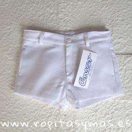 Pantalón muy corto blanco pique de  ANCAR, verano 2020