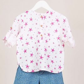 Conjunto bermuda niño STARS FUCSIA de KIDS CHOCOLATE, verano 2019