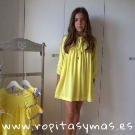 Vestido plumeti amarillo PARCHIS de COCCO ROSSE, verano 2019