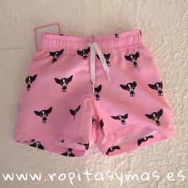 Bañador tela rosa y perritas negras PATUCA de EVA CASTRO, verano 2019