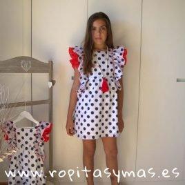 Vestido topos volantes NAVY de KIDS CHOCOLATE, verano 2019