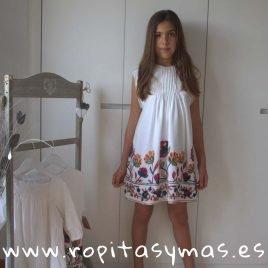 Vestido blanco flores FRIDA de MIA Y LIA, verano 2019