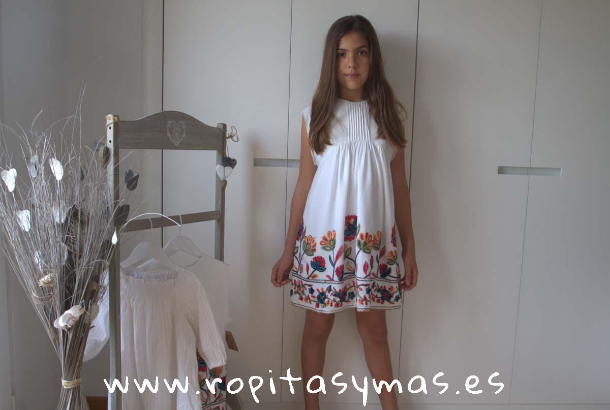 Vestido blanco flores FRIDA de MIA Y LIA