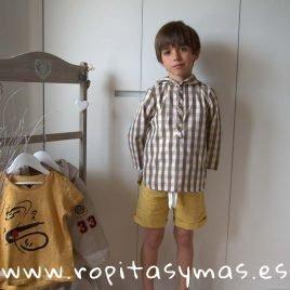 Camisa capucha cuadros mostaza de MIA Y LIA, verano 2019