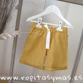 Pantalón corto lino MOSTAZA niño de MIA Y LIA verano 2019