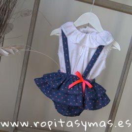 Conjunto ranita azul topos naranja FLÚOR de MAMI MARIA, verano 2019