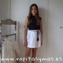 Falda blanca RAYAS DORADAS de MIA Y LIA, verano 2019