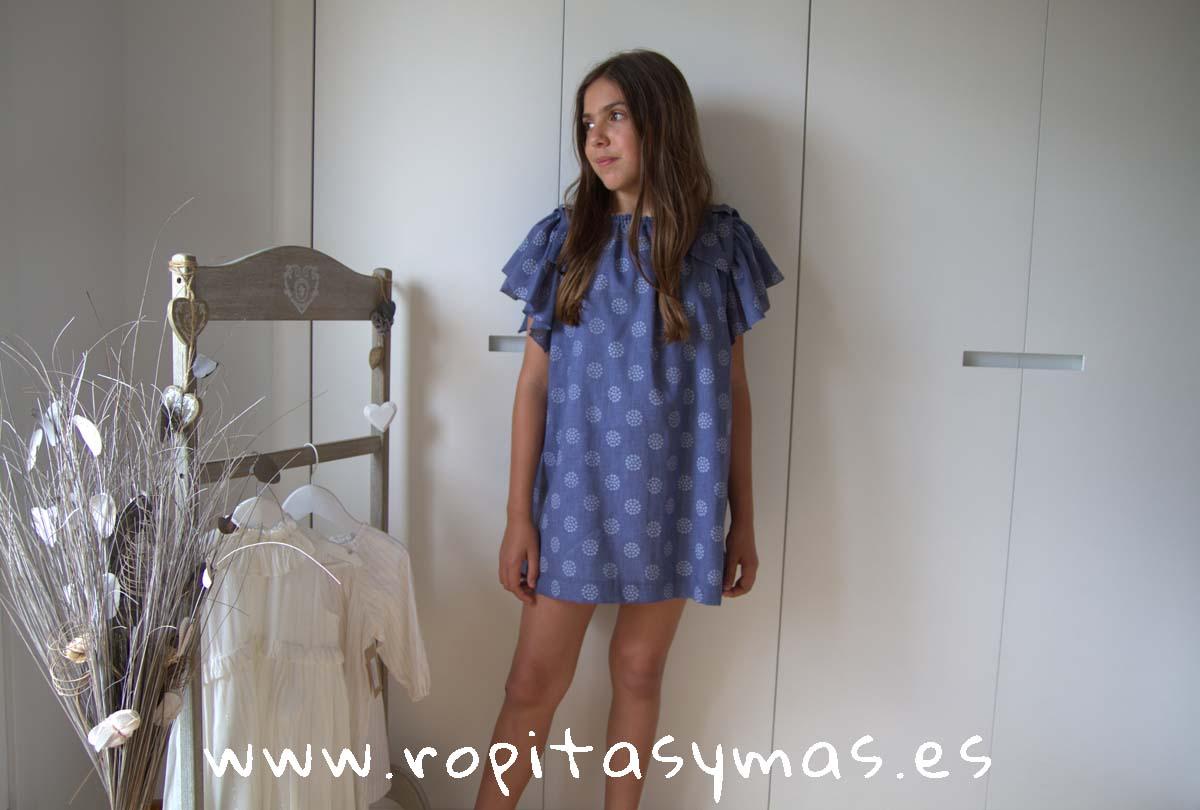 Vestido azul lazos hombros de MIA Y LIA