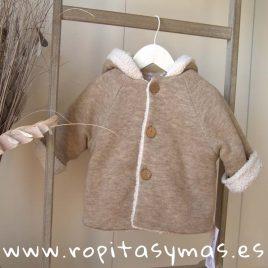 Chaquetón capucha beige jaspeado de ANCAR, invierno 2019