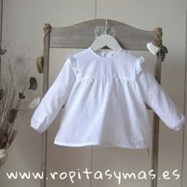 Camisa plumeti blanco volantes de ANCAR, invierno 2019