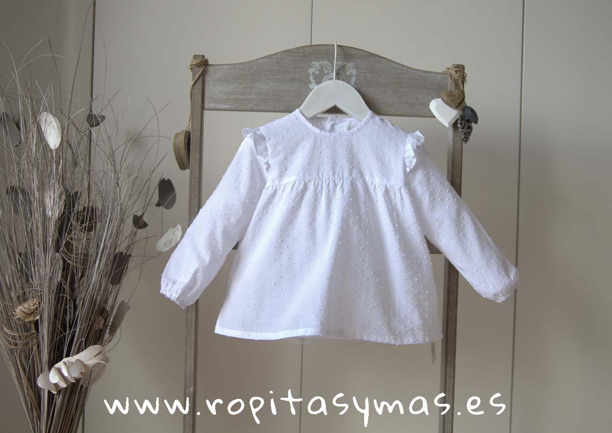Camisa plumeti blanco volantes de ANCAR