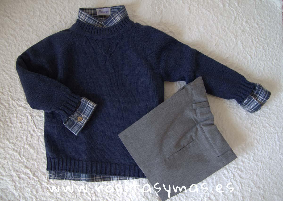 Jersey azul, Camisa cuellos y Pantalón muy corto gris ESCOCES de ANCAR