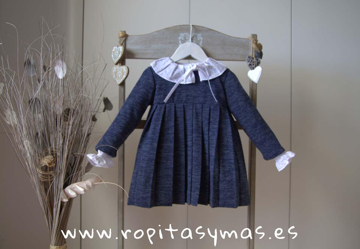 Vestido punto azul tableado ESCOCES de ANCAR
