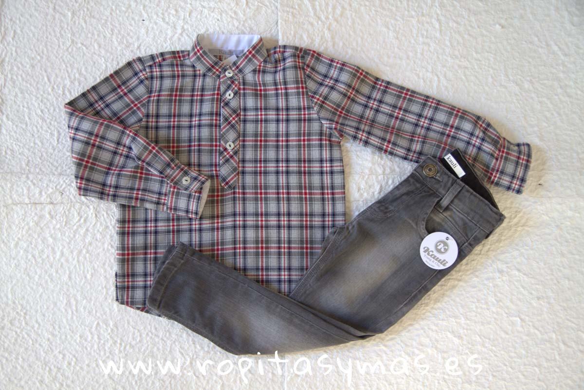 Camisa niño mao y Pantalón vaquero gris YOUNG&COOL OUI de KAULI