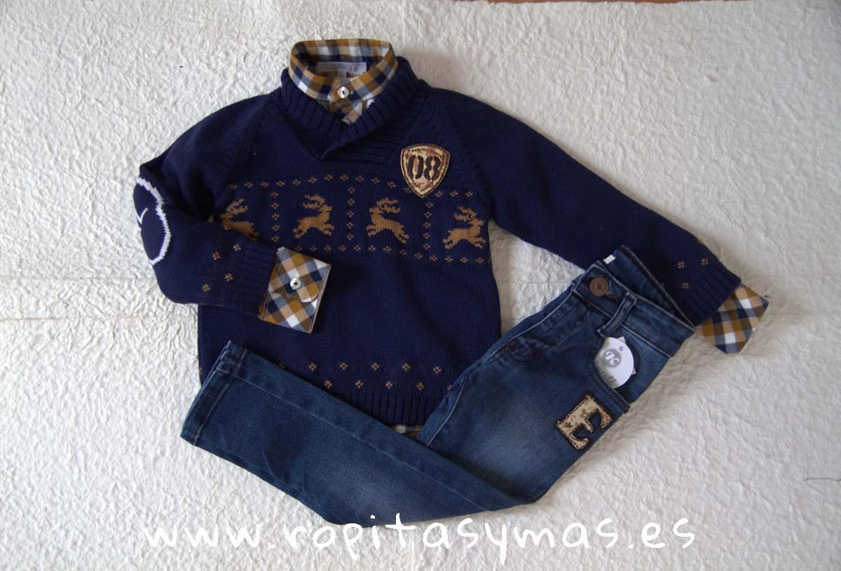 Jersey niño azul, Camisa niño mao YOUNG&COOL NUEZ y Pantalón vaquero azul YOUNG & COOL niño de KAULI