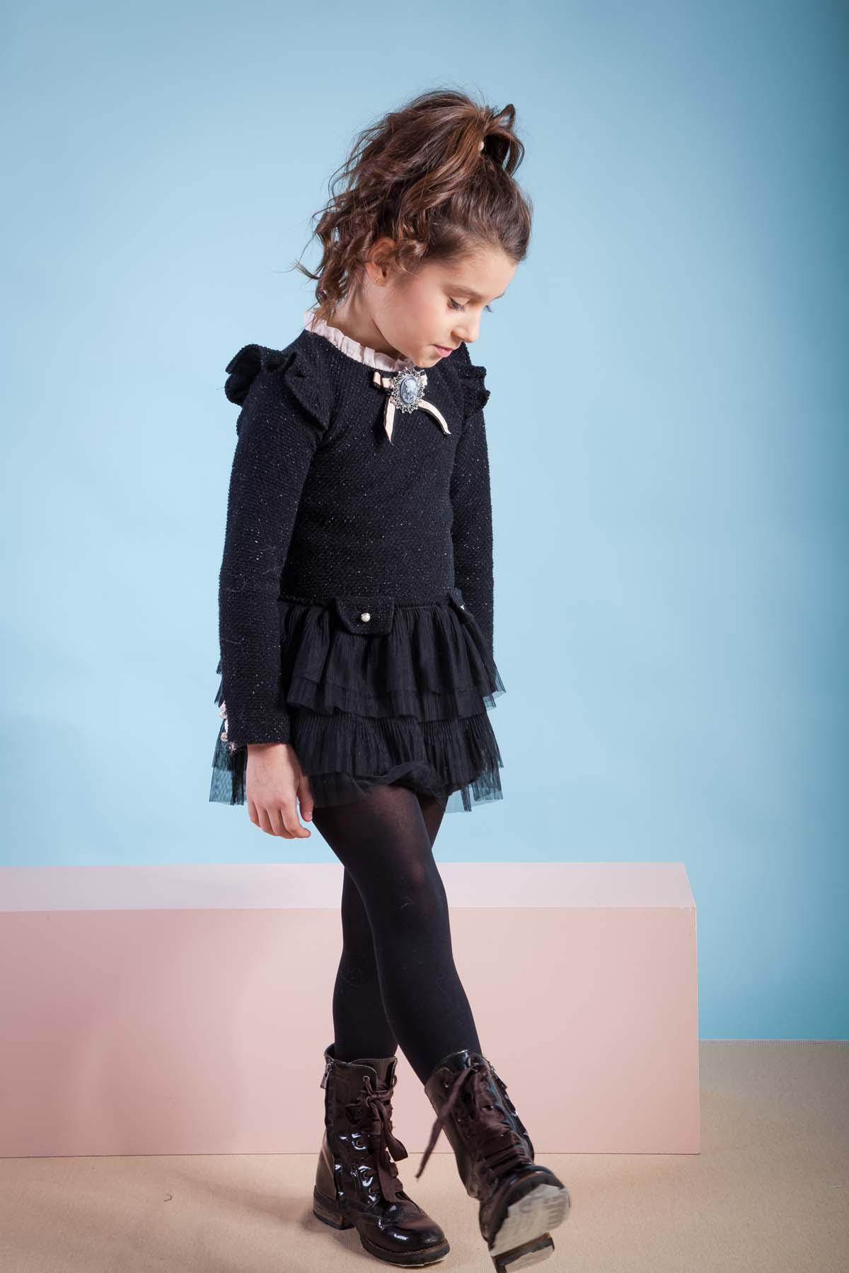 Vestido negro lurex y tul COSMOS de KAULI