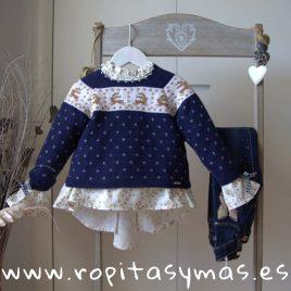 Jersey azul greca NUEZ niña de KAULI, invierno 2019