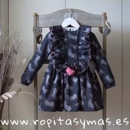 Vestido gris CEBRAS MON PETIT BONBON, invierno 2019