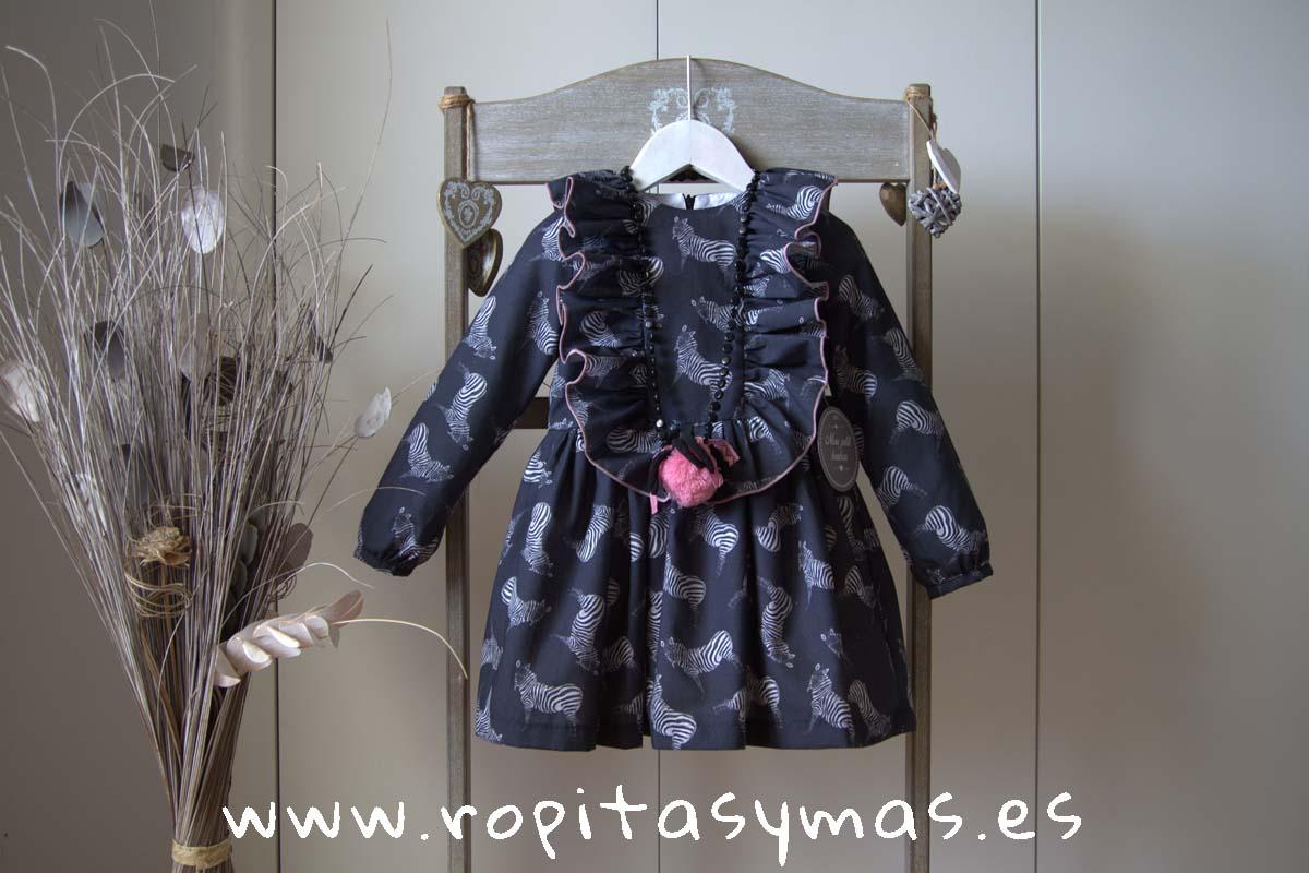 Vestido gris CEBRAS MON PETIT BONBON