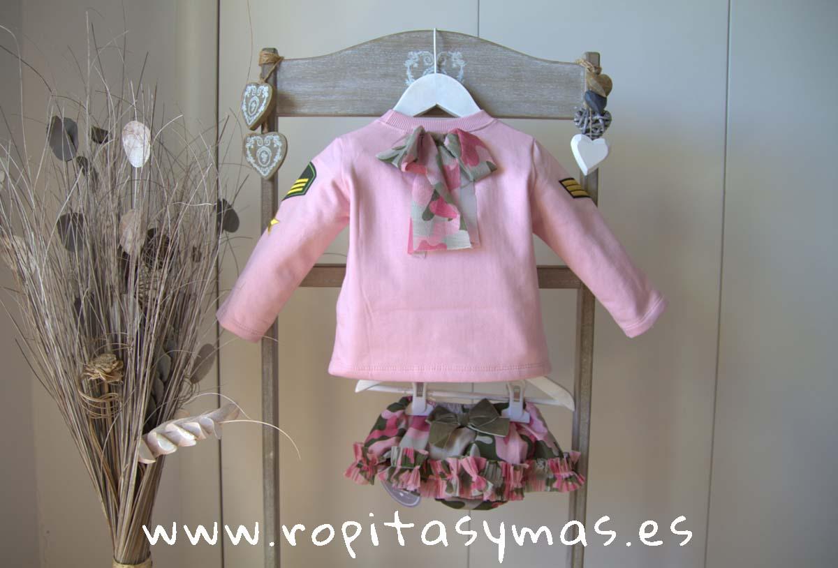 Braguita-falda y Sudadera bebe rosa camuflaje de MON PETIT BONBON