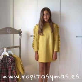 Vestido antelina amarillo TARTAN de EVE CHILDREN, invierno 2019