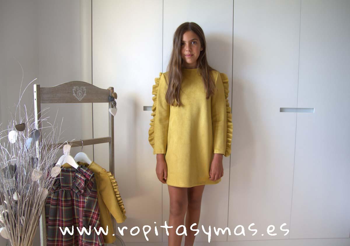 Vestido antelina amarillo TARTAN de EVE CHILDREN