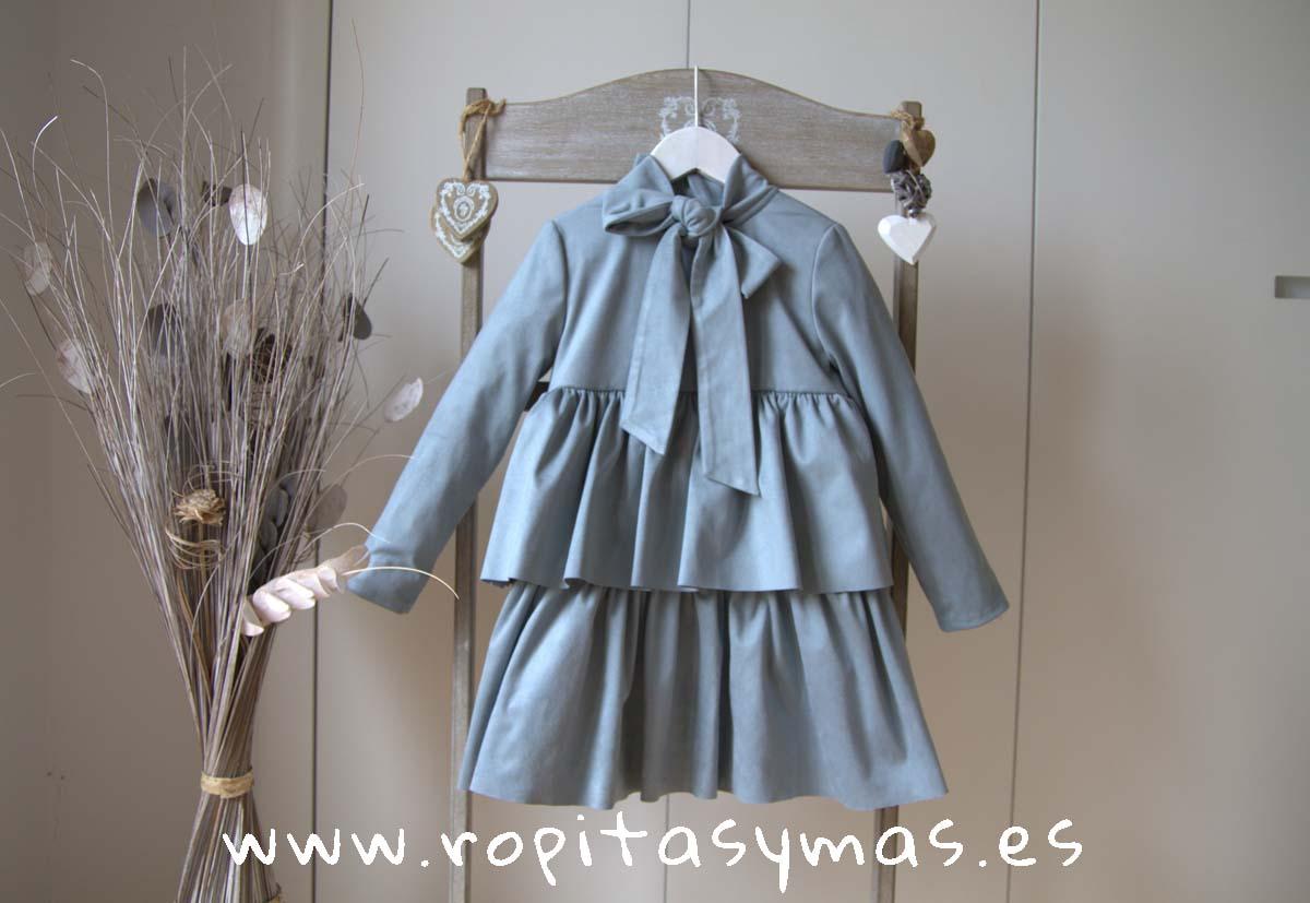 Vestido teen azul hielo volantes TOP de EVE CHILDREN