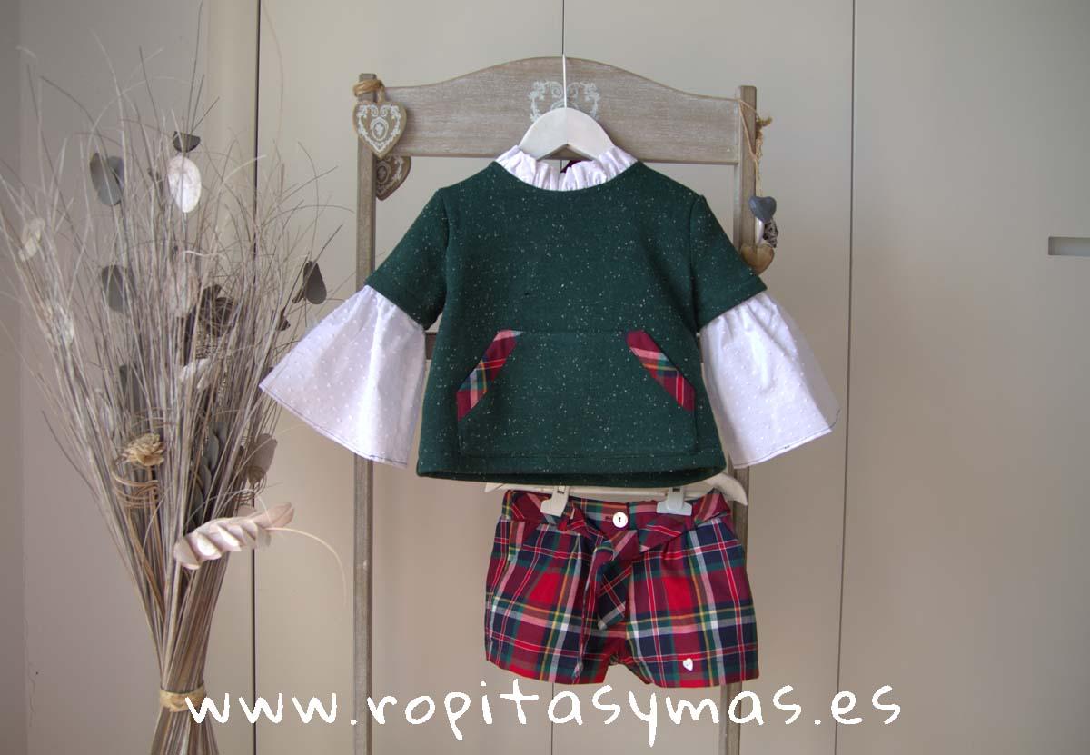 Jersey verde ESCOCIA y Short cuadro rojo TARTÁN de MAMI MARIA