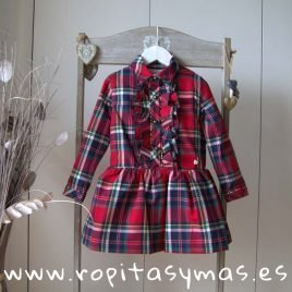 Vestido cuadro escocés rojo TARTÁN de MAMI MARÍA, invierno 2019