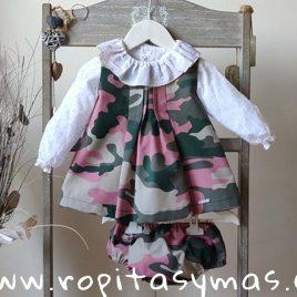 Conjunto de jesusito rosa camuflaje y blusa SAFARI de MAMI MARIA, invierno 2019