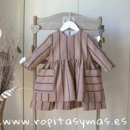 Vestido topo rayas antracita de MIA Y LIA, invierno 2019