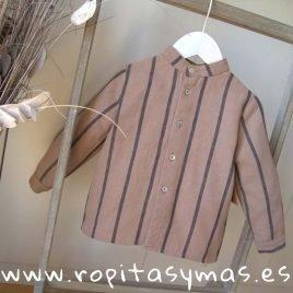 Camisa niño topo rayas antracita de MIA Y LIA, invierno 2019