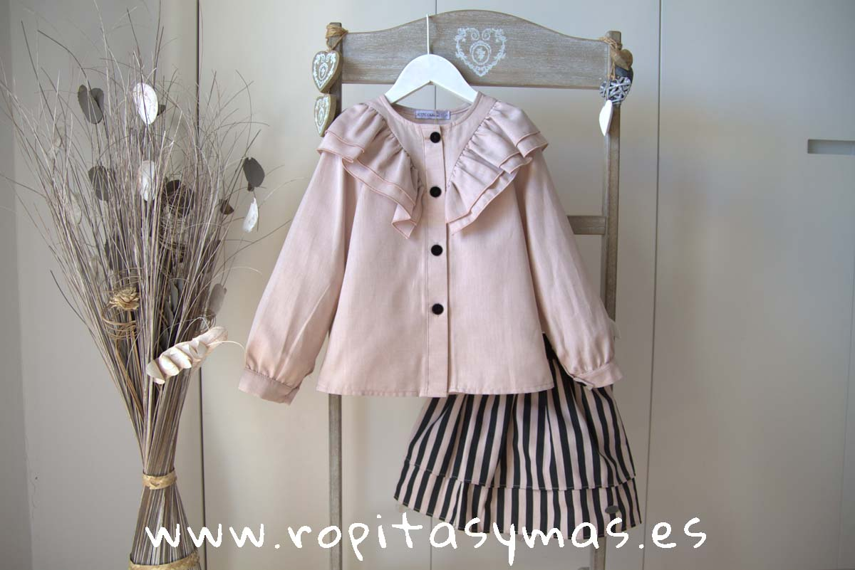 Blusa volantes rosa y Falda rayas TEEN STRIPES de EVE CHILDREN
