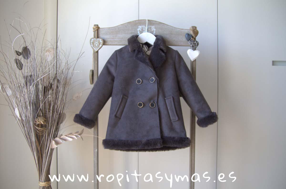 Abrigo-pelliza gris TARTAN de EVE CHILDREN