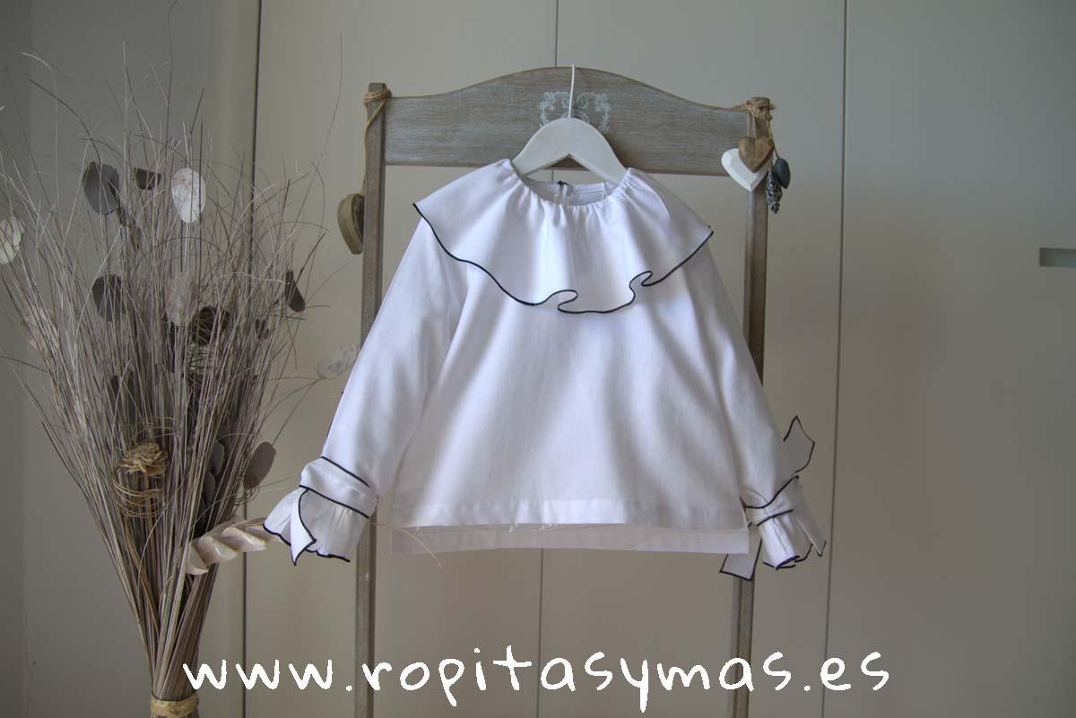 Blusa blanca baberola LUX de MAMI MARIA