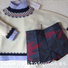 Conjunto short niño CAMUFLAJE de KIDS CHOCOLATE, invierno 2019