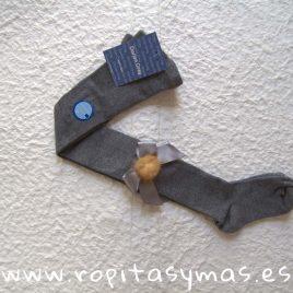 Leotardos gris lazo y pompón  DORIAN GRAY