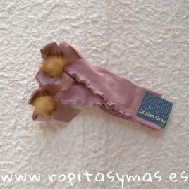 Medias rizo y lazo rosa palo pompón DORIAN GRAY