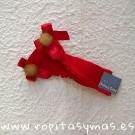 Medias rizo y lazo rojas pompón DORIAN GRAY