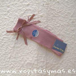 Medias lisas lazos rosa palo DORIAN GRAY