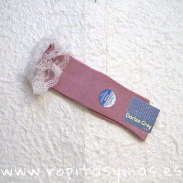 Medias lisas encaje rosa palo DORIAN GRAY