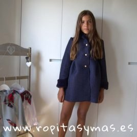 Abrigo azulón guateado PARÍS de MAMI MARIA, invierno 2019