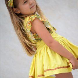 Conjunto falda amarilla y blusa floral CAMPIÑA de NOMA, verano 2020
