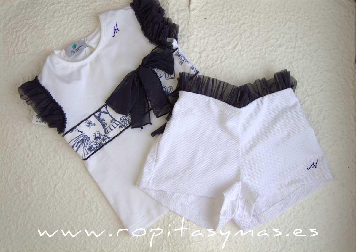 Camiseta blanca ROMANTIC de LE PETIT MARIETTE