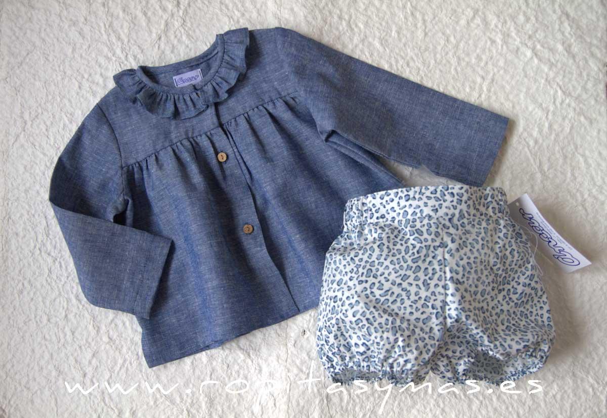 Camisa bebe cuello volante JEANS y Bombacho ANIMAL PRINT jeans de Ancar
