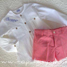 Camisa mao bajo blanca cuadros de Ancar, verano 2020