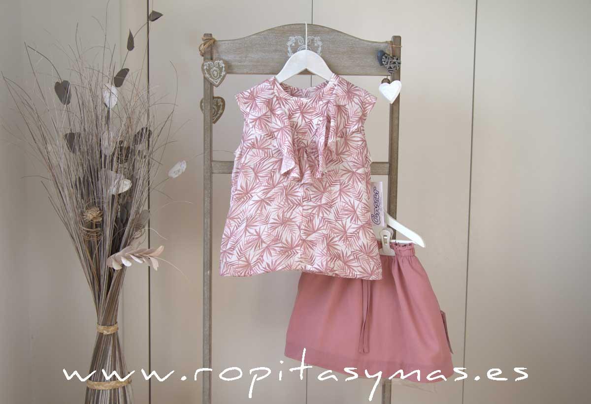 Blusa palmeras rosas volante y Falda rosa marsala de ANCAR