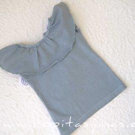 Camiseta volante gris verdoso TUCANES de ANCAR verano 2020