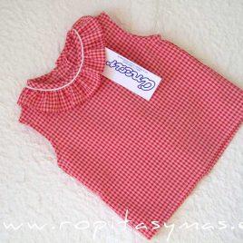 Camisa bebe volante VICHY rojo fresa de ANCAR, verano 2020